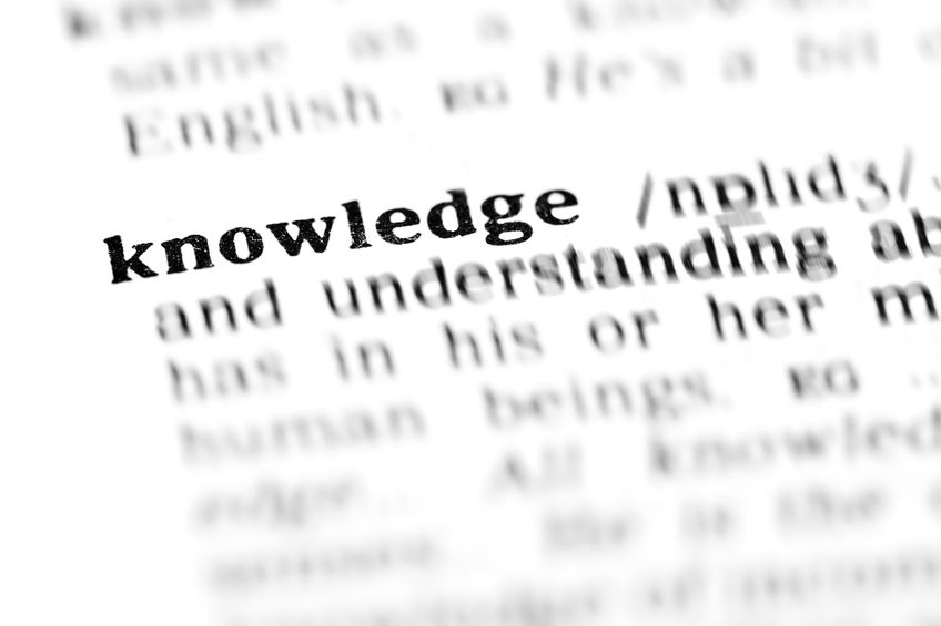 A photo of the word knowledge in the dictionary.
