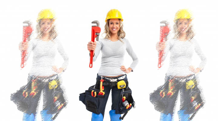 A woman stands with a tool belt and tools symbolizing trying to fix her boyfriend.