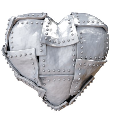 Don't let your heart get hardened - image of heart wrapped in steel