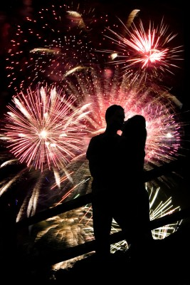 Are you feeling the fireworks in your relationship? Man and woman silhouette kissing in front of a fireworks display