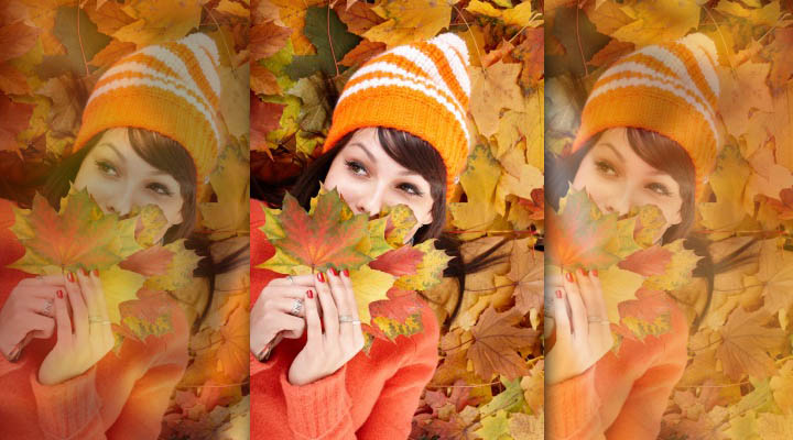 A beautiful woman is happy, playing in the leaves while thinking of what she's thankful for.
