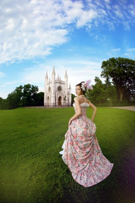 She always won her man, and he always pursued her regardless of what obstacles came up, and they always eventually married and lived happily ever after. A beautiful woman dressed as a princess is running toward the fairytale castle.