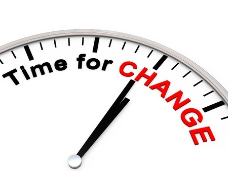 Clock with the words Time for Change represents that a woman is going to change her habits and start saying no more.