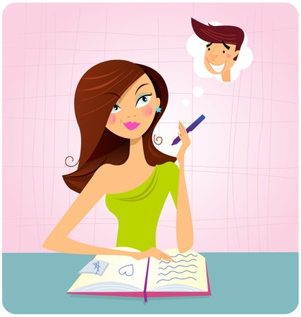 Cartoon of a beautiful woman writing her perfect boyfriend list