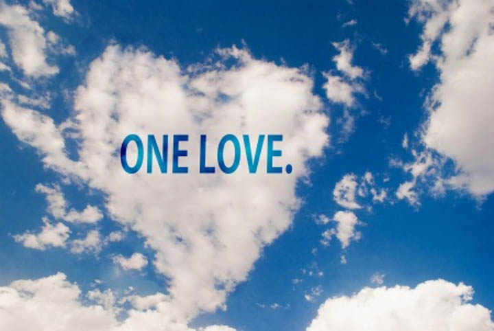 "Heart shaped cloud image with the words ""one love"" written in them."