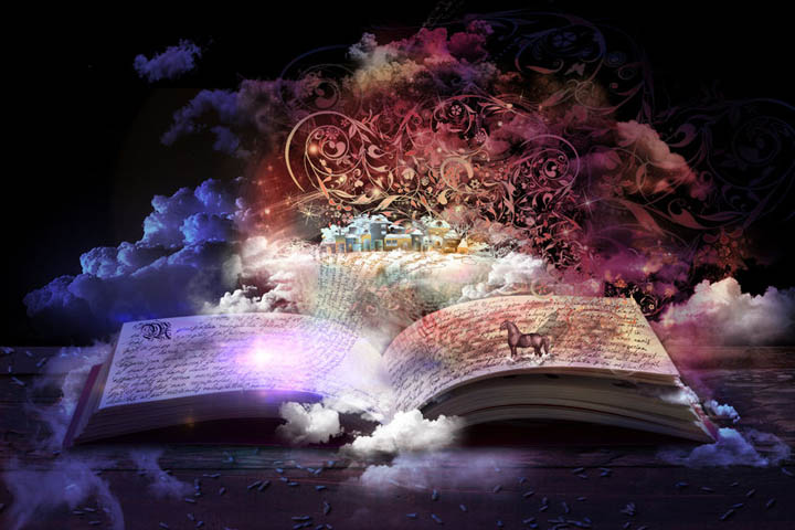 A magical book is open on the table signifying an epic love story that we all want.