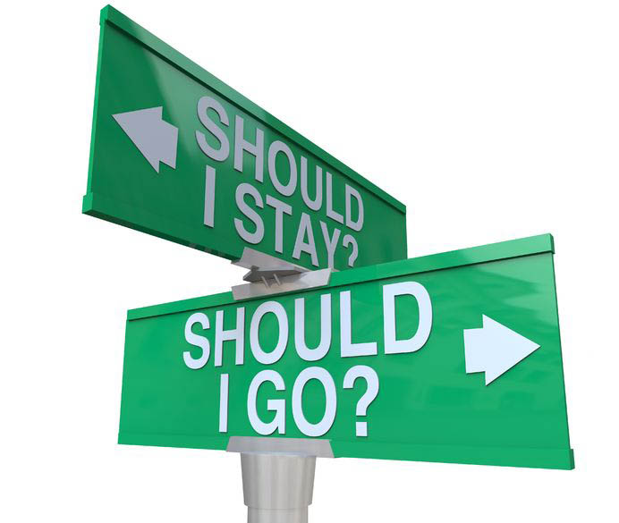 A street sign showing should I stay on one sign and should i go on the other.