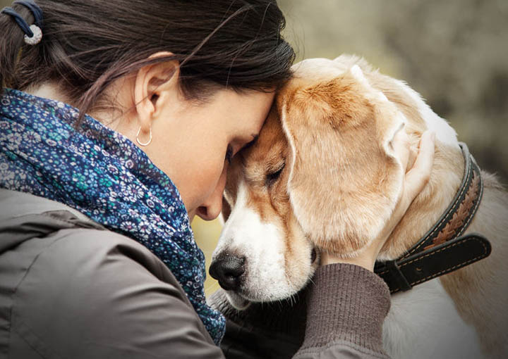 A woman holds her dogs head close, showing affection.