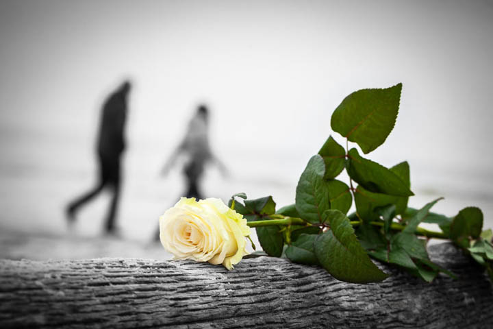 A woman walks away from a man with a rose in the foreground, symbolizing a break up.