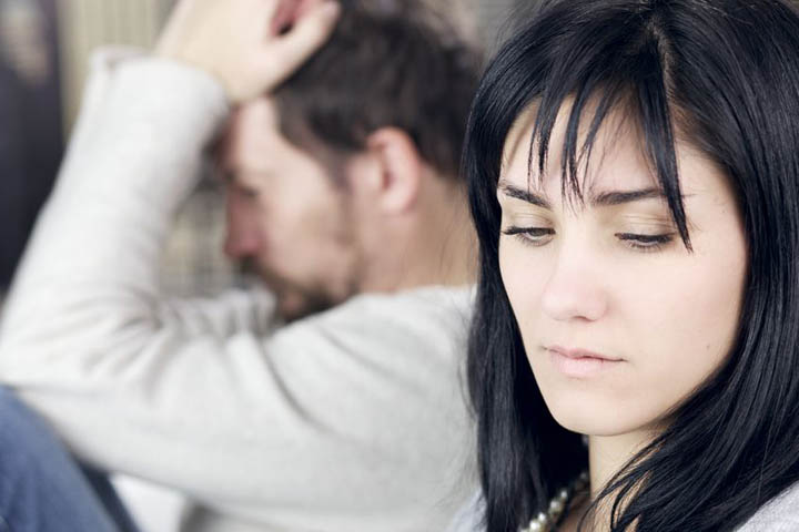Unhappy couple after fight not talking to each other