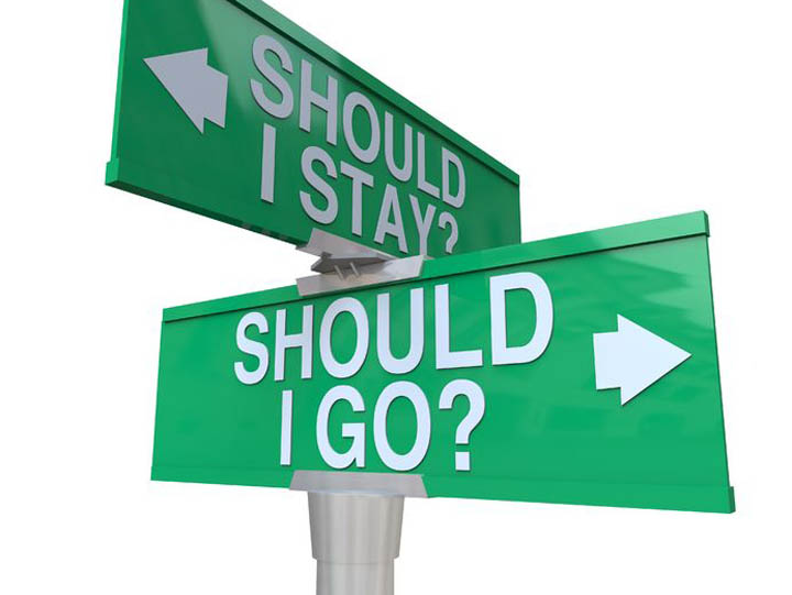 Street sign showing direction for should I stay or should I go.