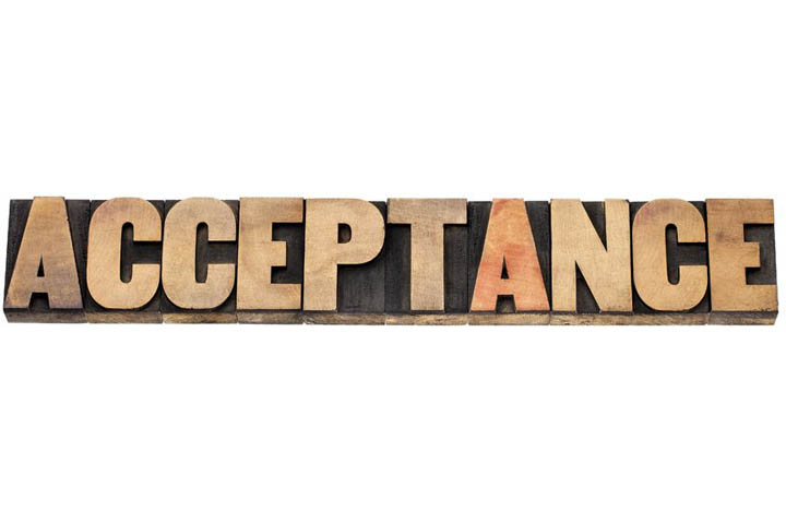 acceptance word - isolated text in letterpress wood type