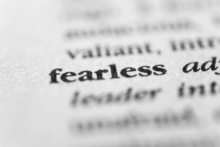 The word fearless printed in a dictionary.