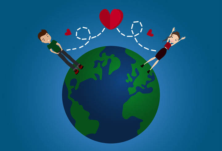 Illustration of the earth depicting a long distance relationshp with two lovers across the globe.