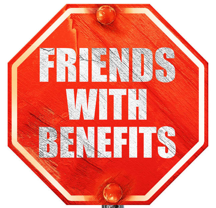 Friends with benefits written on a stop sign.