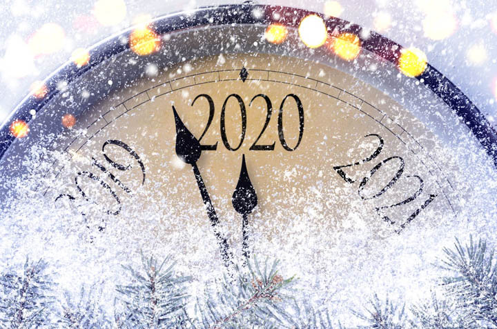 A snowflake covered clock counting down to 2020